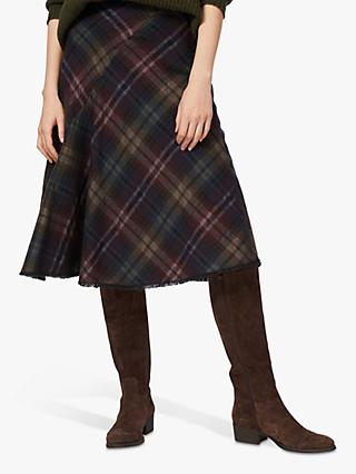 Brora Scottish Tweed Midi Skirt, Sorrel/Chocolate