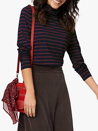Brora Metallic Stripe Polo Neck Top, Navy/Auburn