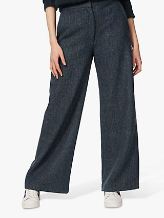 Brora Harris Tweed Wide Leg Trousers, Sorrel/Navy