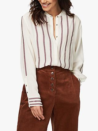 Brora Embroidered Silk Shirt, Ivory/Oxblood