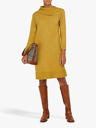 Monsoon Perrie Asymmetric Neck Dress, Mustard