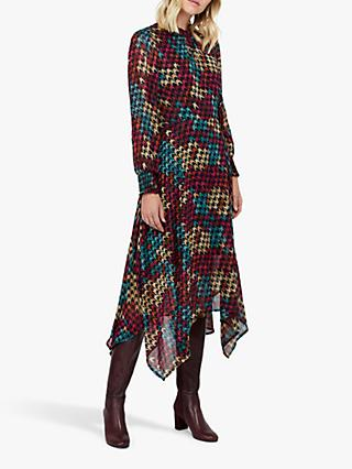 Monsoon Hazel Houndstooth Dress, Pink/Multi