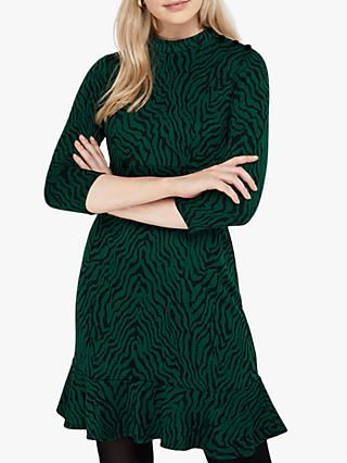 Monsoon Tiggy Tiger Jacquard Dress, Green