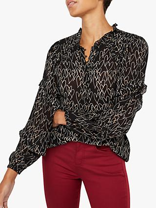 Monsoon Harmony Heart Print Blouse, Black