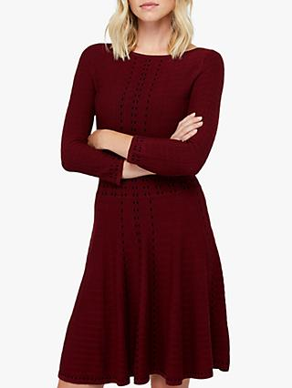 Monsoon Freja Fit & Flare Dress, Berry