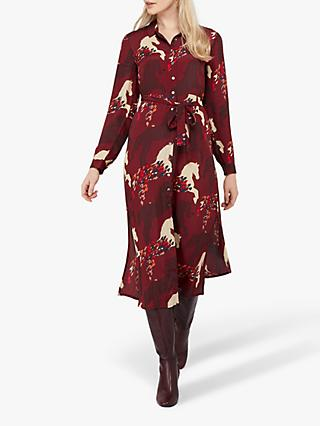 Monsoon Holly Horse Print Midi Shirt Dress, Berry/Multi