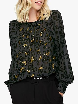 Monsoon Ola Animal Print Sequin Blouse, Black