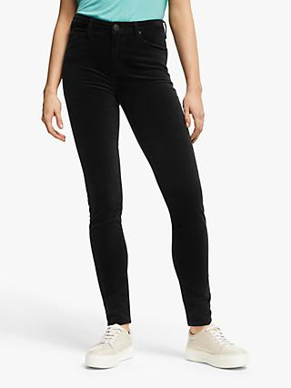 Lee Scarlett High Waist Skinny Velvet Jeans, Black