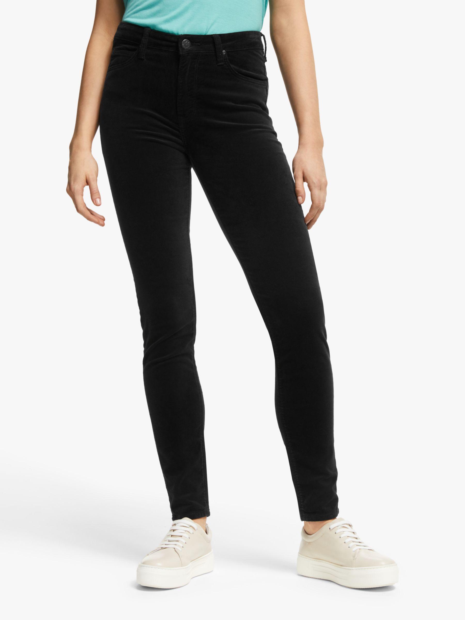 Lee Lee Scarlett High Waist Skinny Velvet Jeans, Black