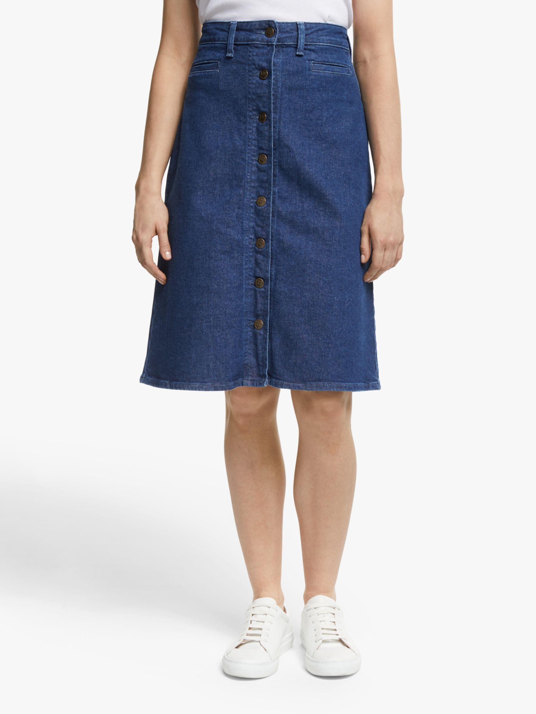 Lee Lee Button Through Denim Skirt, Dark Wilma