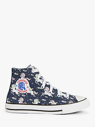 Converse Children's Chuck Taylor All Star High Top Unicorn Trainers, Navy