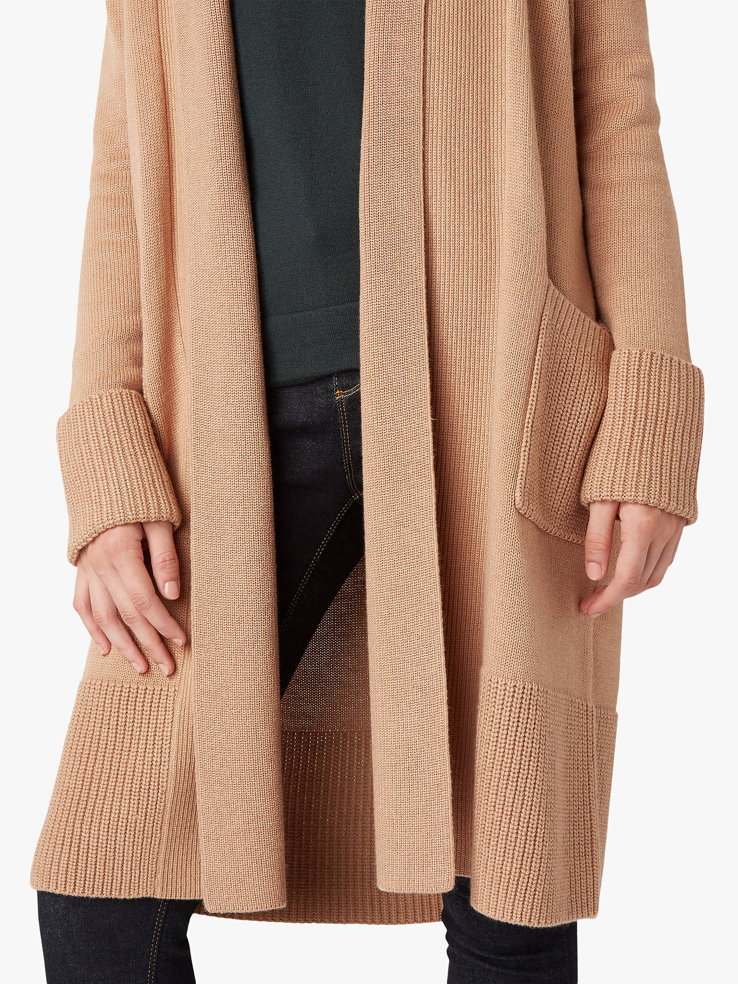 Buy Hobbs Lottie Knit Cardigan, Camel, XS Online at johnlewis.com