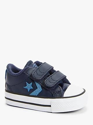 Converse Junior All Star 2V Leather Low-Top Riptape Trainers, Obsidian Aegean