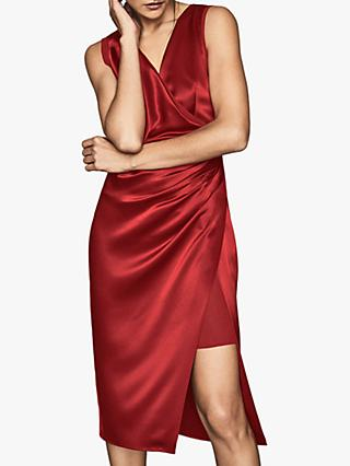 Reiss Lucine Satin Drape Cocktail Dress, Red