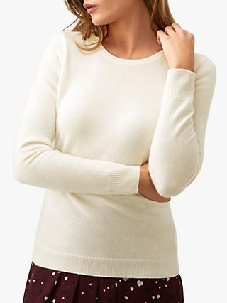 Pure Collection Cashmere Crew Neck Sweater, Soft White
