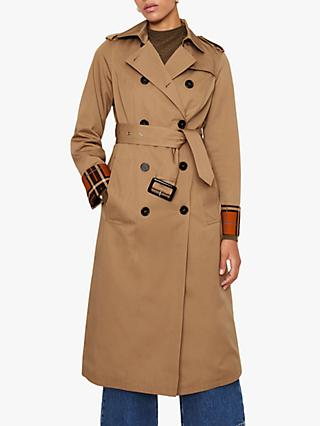 Warehouse Check Lined Trench Coat, Stone
