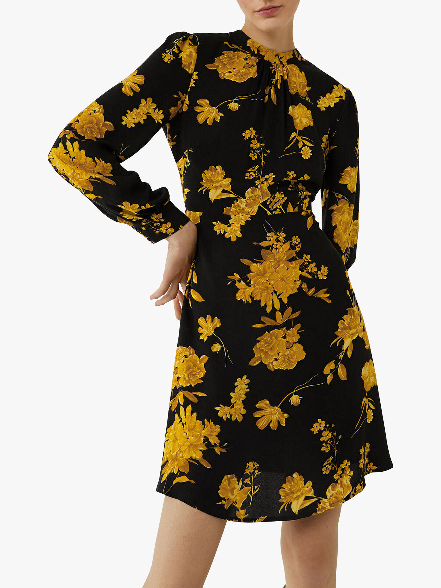 Warehouse Wallflower Floral Print Mini Dress, Yellow by Warehouse