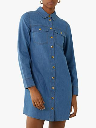 Warehouse Cotton Mini Shirt Dress, Mid Wash Denim