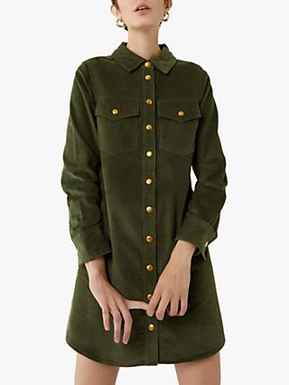 Warehouse Cord Mini Shirt Dress, Light Green