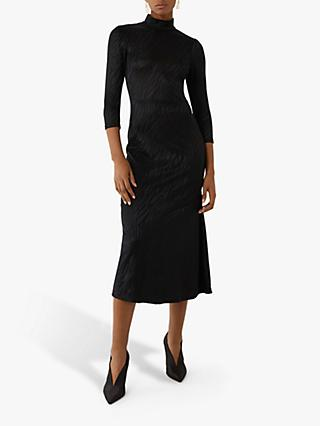 Warehouse Tiger Jacquard Midi Dress, Black