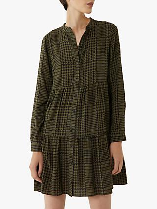 Warehouse Check Tiered Shirt Dress, Green Print