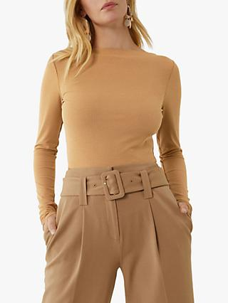 Warehouse Slash Neck Long Sleeve Rib Top