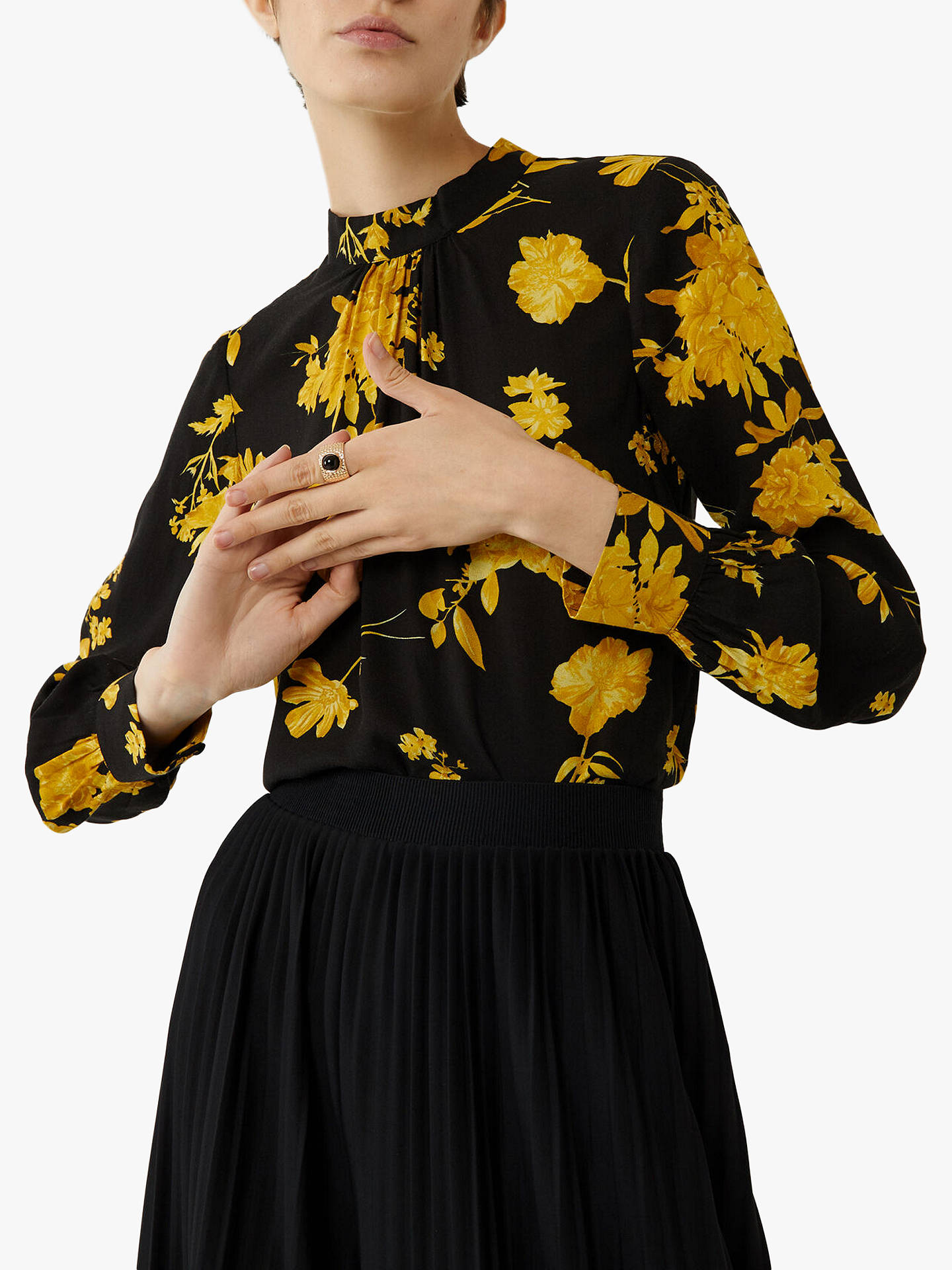 Warehouse Wallflower Print High Neck Top, Yellow/Black by Warehouse