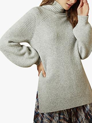 Ted Baker Sylinaa Roll Neck Chunky Knit Jumper, Light Grey