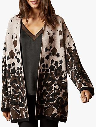 Ted Baker Yazella Leopard Jacquard Cardigan, Pale Pink