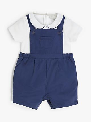 John Lewis & Partners Heirloom Collection Nautical Dungaree Set, Navy