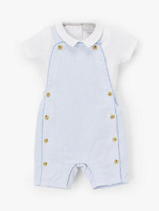 John Lewis & Partners Heirloom Collection Baby Stripe Dungaree Set, Blue