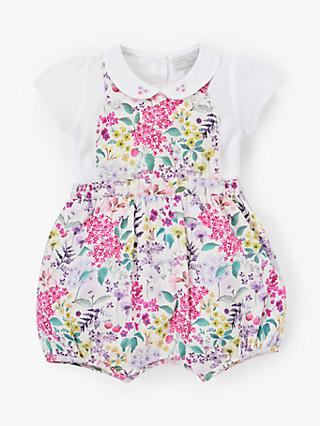 John Lewis & Partners Heirloom Collection Baby Floral Bibshort Set, Multi