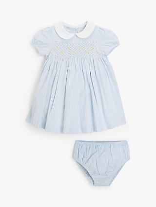 John Lewis & Partners Heirloom Collection Baby Smock Dress, Blue
