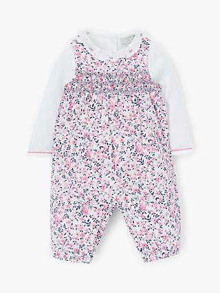 John Lewis & Partners Heirloom Collection Baby Ditsy Romper Set, Pink