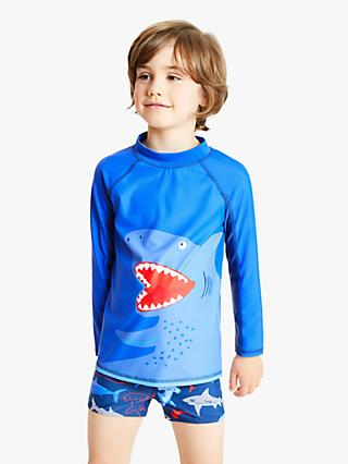 John Lewis & Partners Boys' Shark Rash Vest, Blue