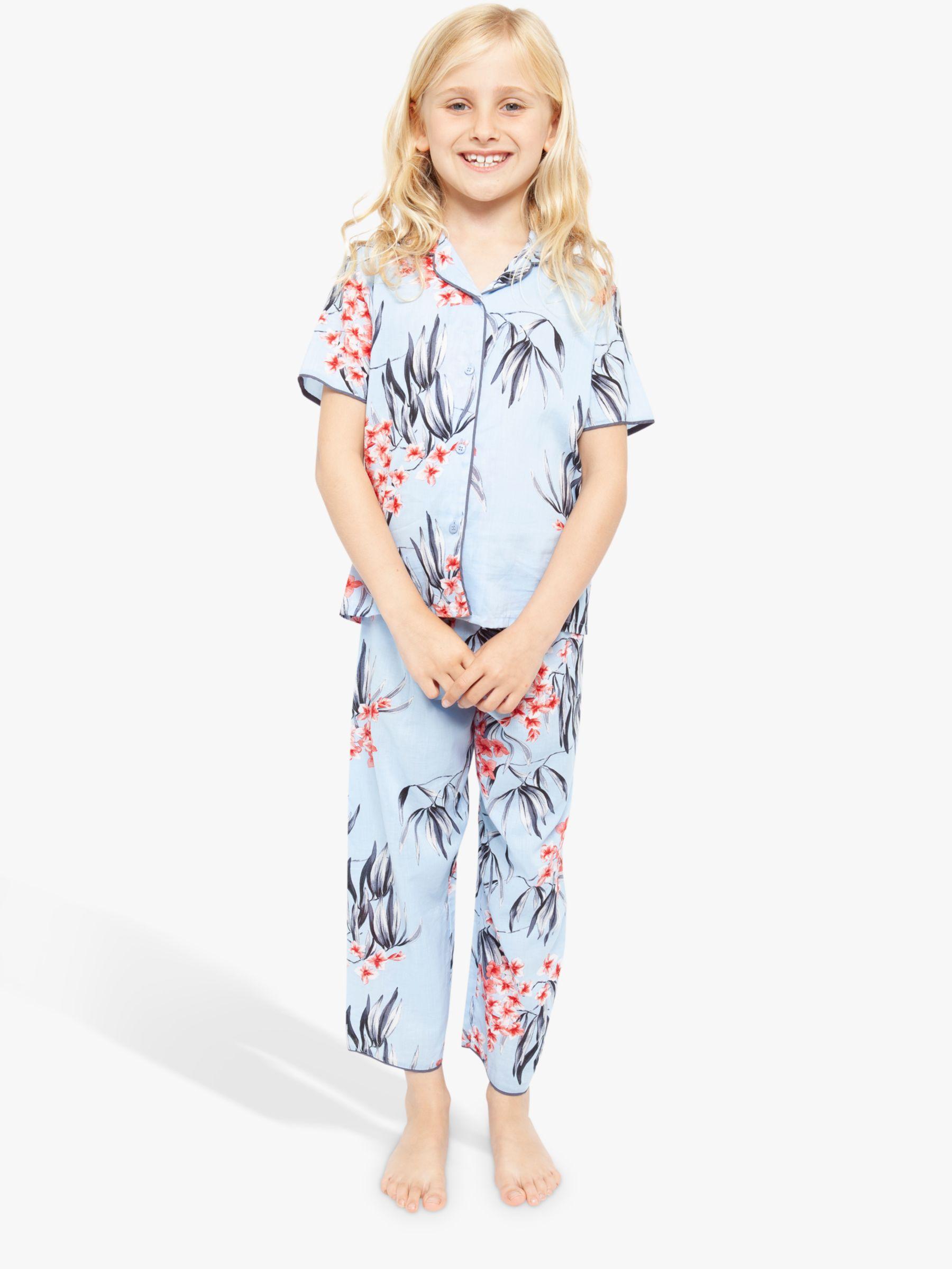 Cyberjammies Cyberjammies Girls' Floral Short Sleeve Pyjama Set, Blue