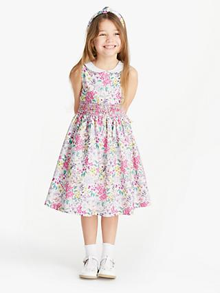 John Lewis & Partners Heirloom Collection Girls' Floral Smocked Dress, Multi