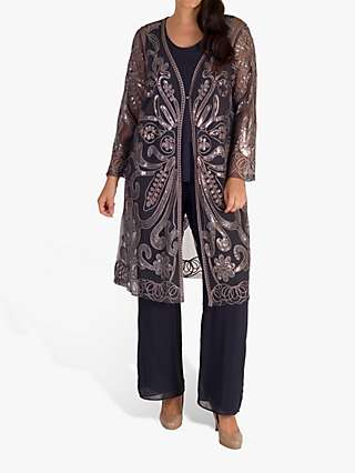 Chesca Cornelli Embroidered Mesh Coat, Pewter