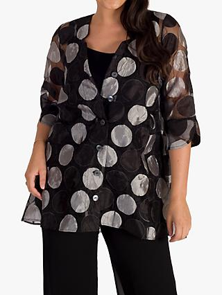 chesca Sheer Organza Long Shirt, Black/Silver