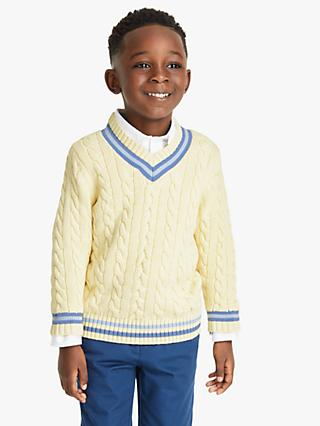 John Lewis & Partners Heirloom Collection Boys' Cricket Jumper, Natural