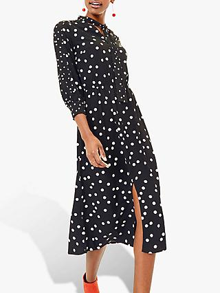 Oasis Spot Pussybow Dress, Black