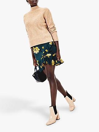 Oasis Floral Rose Wrap Mini Skirt, Multi Green