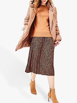 Oasis Animal Print Pleated Midi Skirt, Multi Natural