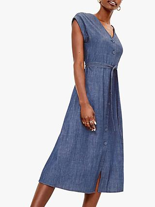 Oasis Denim Shirt Dress, Blue