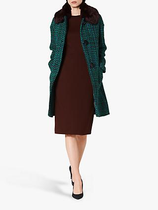 L.K.Bennett Aster Tweed Faux Fur Collar Coat, Blue/Multi