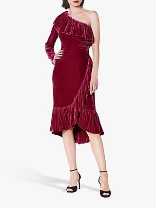 L.K.Bennett Freud Velvet One Shoulder Ruffle Dress, Magenta