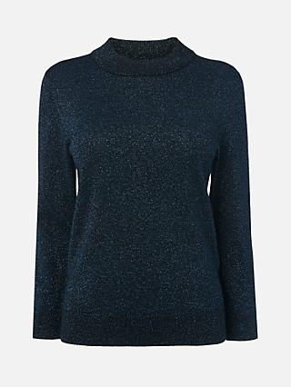 L.K.Bennett Nova Wool Blend Sparkle Jumper, Blue