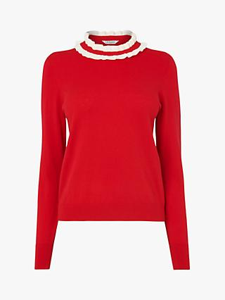 L.K.Bennett Annabelle Frill Neck Jumper, Red