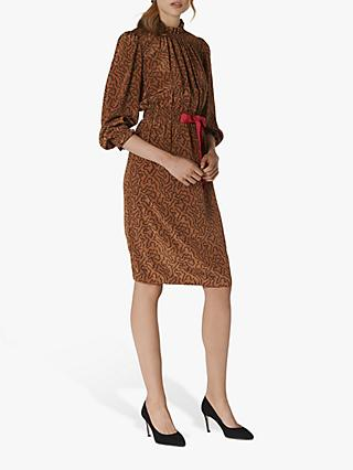 L.K.Bennett Isobel Silk Coral Print Dress, Chocolate