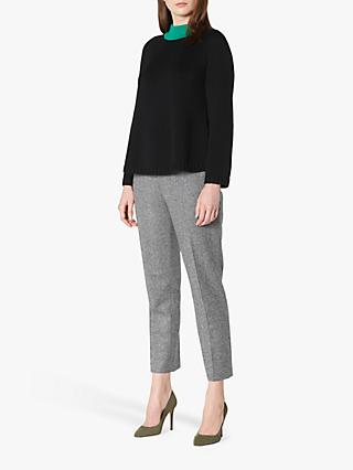 L.K.Bennett Audie Merino Wool Jumper, Black/Fern